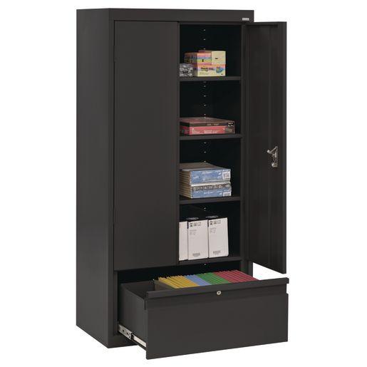 """Metal Storage Cabinet with Drawer- 64""""H Double Door - Black"""