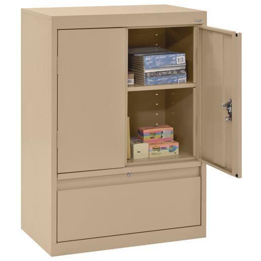 "Metal Storage Cabinet with Drawer- 42""H Double Door - Sand"