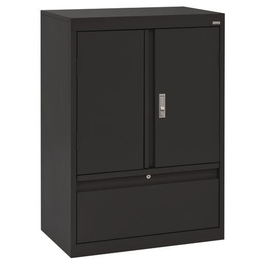 """Metal Storage Cabinet with Drawer- 42""""H Double Door - Black"""