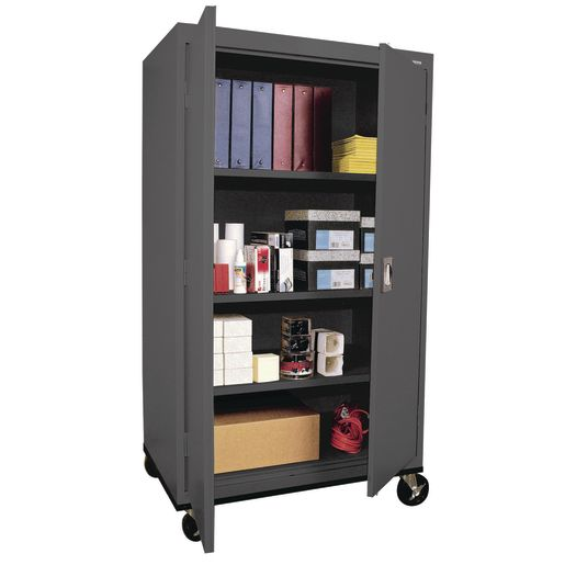 "Mobile Metal Storage Cabinet - 66""H with Double Doors - Charcoal"