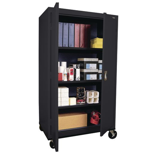 "Mobile Metal Storage Cabinet - 66""H with Double Doors -  Black"