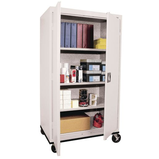"Mobile Metal Storage Cabinet - 66""H with Double Doors -  Grey"