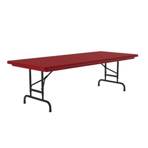 """30"""" x 72"""" Bright Color Folding Table, 22""""-32""""H - Red"""