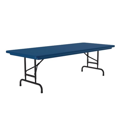 "30"" x 72"" Bright Color Folding Table, 22""-32""H - Blue"