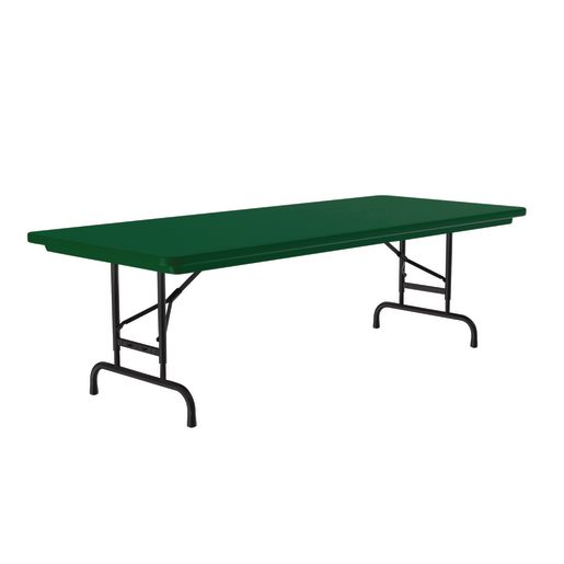 "30"" x 72"" Bright Color Folding Table, 22""-32""H - Green"