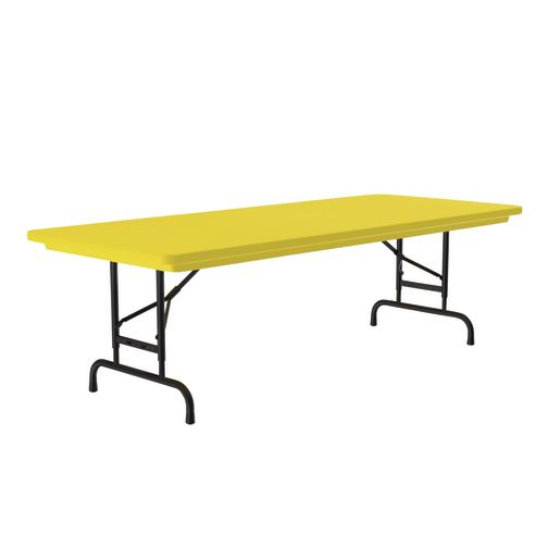 "30"" x 72"" Bright Color Folding Table, 22""-32""H - Yellow"