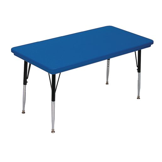 Lightweight Activity Table 24 x 48 Rectangle, Adjustable Leg - Blue