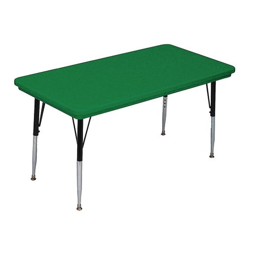 Lightweight Activity Table 24 x 48 Rectangle, Adjustable Leg - Green