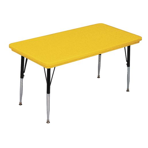 Lightweight Activity Table 24 x 48 Rectangle, Adjustable Leg - Yellow