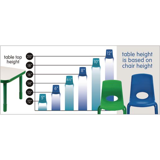 Lightweight Activity Table 30 x 60 Rectangle, Adjustable Leg - Blue
