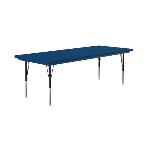 Lightweight Activity Table 30 x 72 Rectangle, Adjustable Leg - Blue