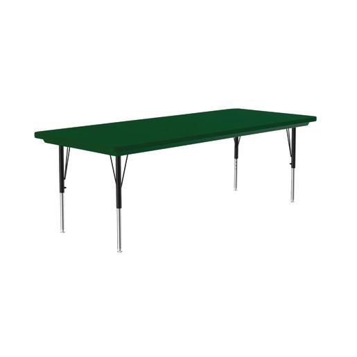 Lightweight Activity Table 30 x 72 Rectangle, Adjustable Leg - Green