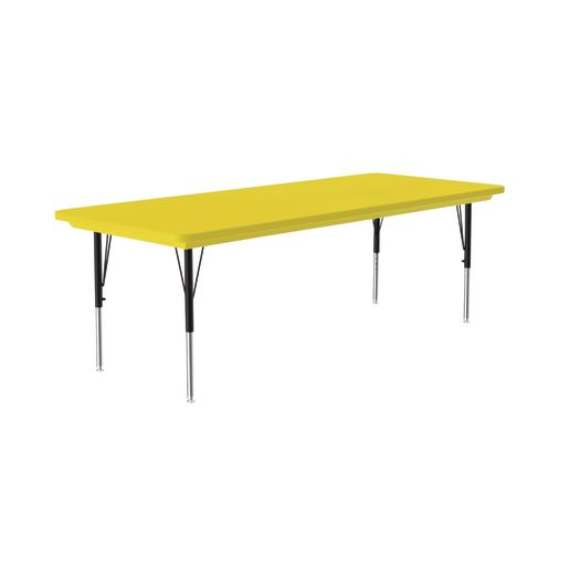 Lightweight Activity Table 30 x 72 Rectangle, Adjustable Leg - Yellow