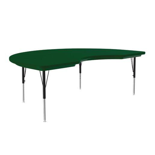 Lightweight Activity Table 48 x 72 Kidney, Adjustable Leg - Green