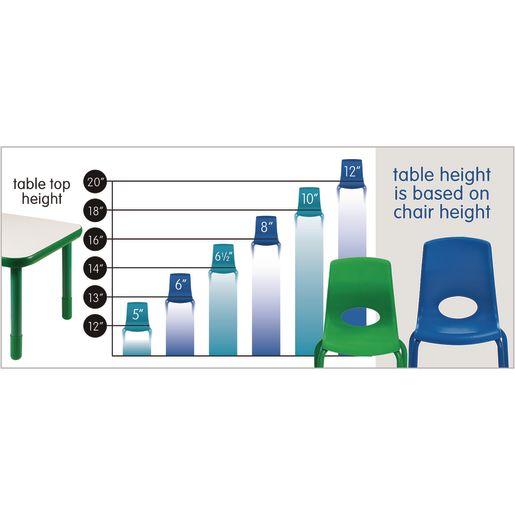 Lightweight Activity Table 48 x 72 Kidney, Adjustable Leg - Yellow