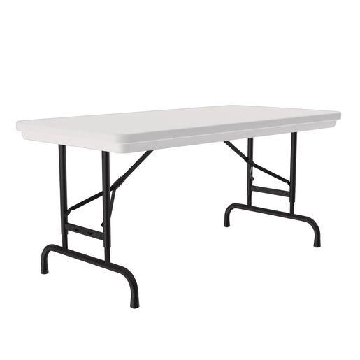 "24"" x 48"" Folding Table, 17""-27""H - Gray Granite"