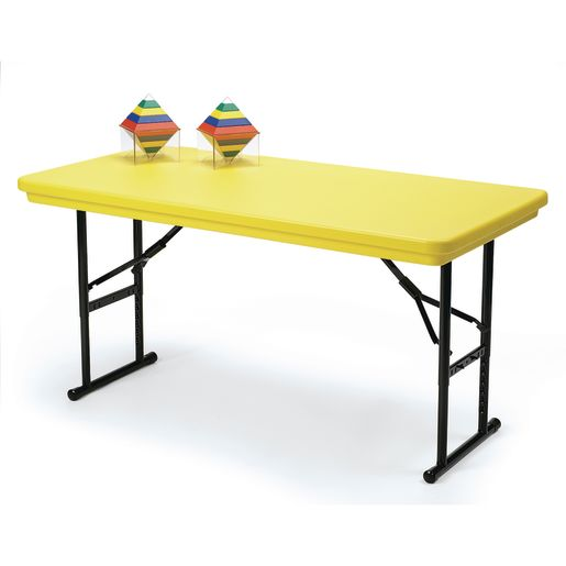 """30"""" x 72"""" Bright Color Folding Table, 17""""-27""""H - Yellow"""