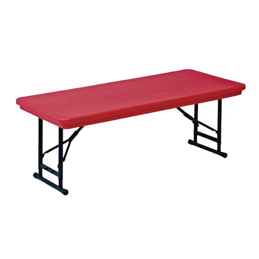 "30"" x 72"" Folding Table, 17""-27""H - Gray Granite"