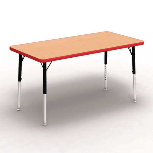 "24"" x 48"" Rectangle Table, 17""-25""H - Maple/Red"