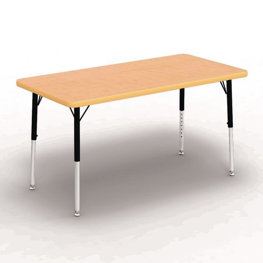 """24"""" x 48"""" Rectangle Table, 17""""-25""""H - Maple/Yellow"""