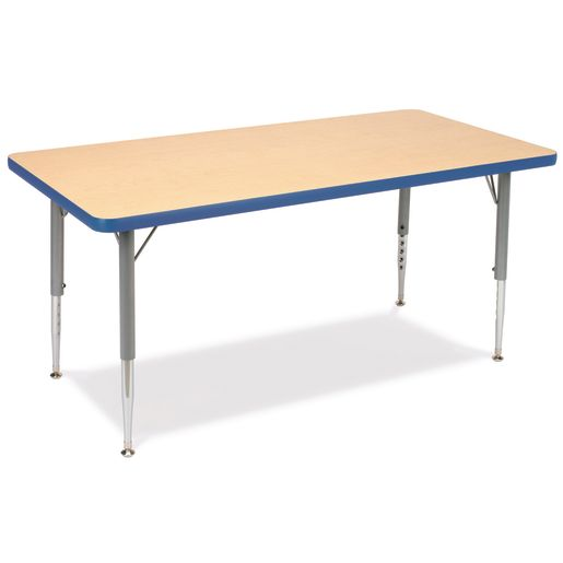 "24"" x 48"" Rectangle Table, 17""-25""H - Maple/Sky Blue"
