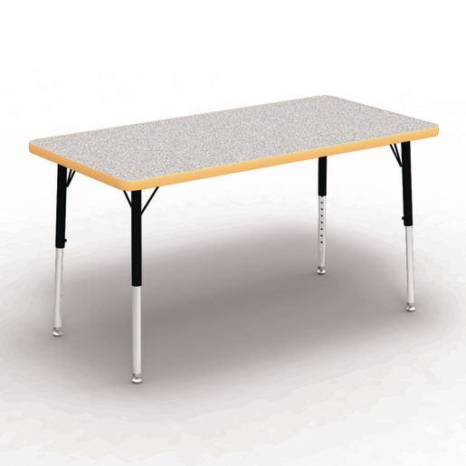 """24"""" x 48"""" Rectangle Table, 17""""-25""""H - Gray/Yellow"""