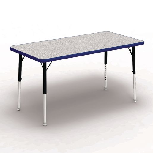 """24"""" x 48"""" Rectangle Table, 17""""-25""""H - Gray/Blue"""
