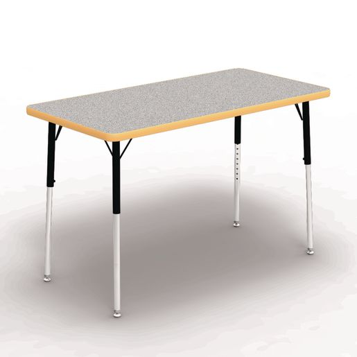 """24"""" x 48"""" Rectangle Banded Table 22""""-30""""H - Gray / Squash"""