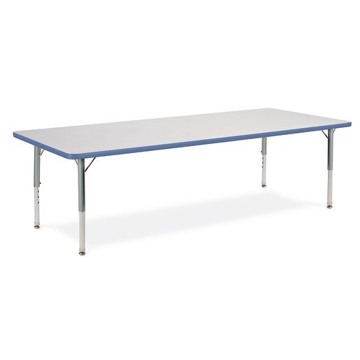 """24"""" x 48"""" Rectangle Banded Table 22""""-30""""H - Gray / Sky Blue"""
