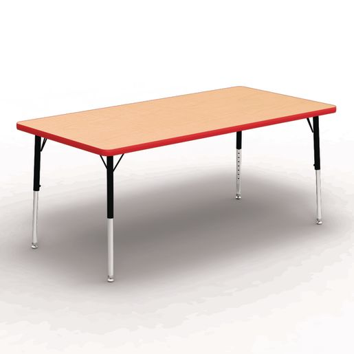"30"" x 60"" Rectangle Tables, 17""-25""H - Maple/Red"