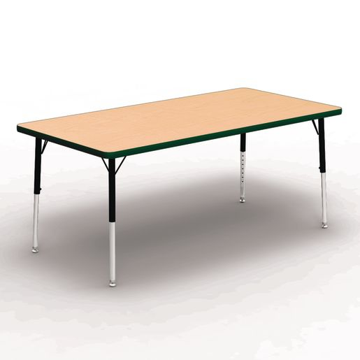 """30"""" x 60"""" Rectangle Tables, 17""""-25""""H - Maple/Forest"""