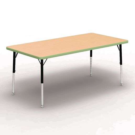 "30"" x 60"" Rectangle Tables, 17""-25""H - Maple/Apple Green"