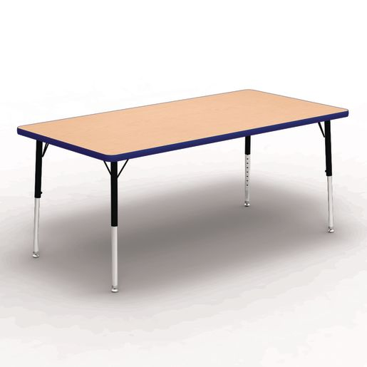 "30"" x 60"" Rectangle Tables, 17""-25""H - Maple/Blue"