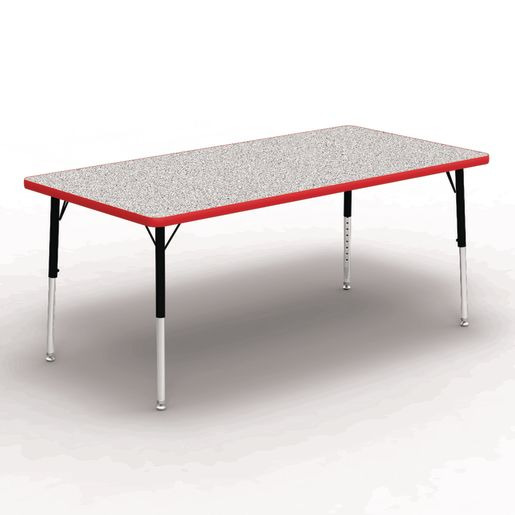 "30"" x 60"" Rectangle Tables, 17""-25""H - Gray/Red"