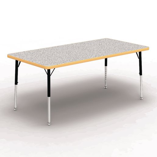 "30"" x 60"" Rectangle Tables, 17""-25""H - Gray/Yellow"