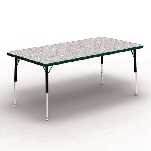 """30"""" x 60"""" Rectangle Tables, 17""""-25""""H - Gray/Forest"""