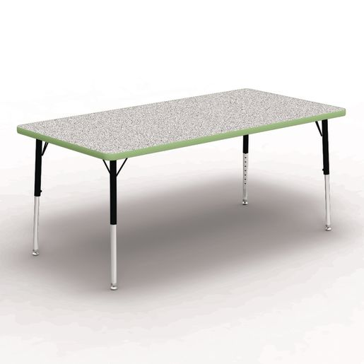 "30"" x 60"" Rectangle Tables, 17""-25""H - Gray/Apple Green"