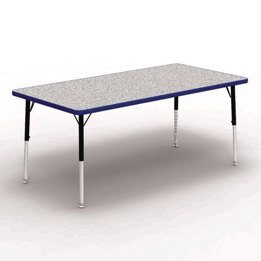 """30"""" x 60"""" Rectangle Tables, 17""""-25""""H - Gray/Blue"""