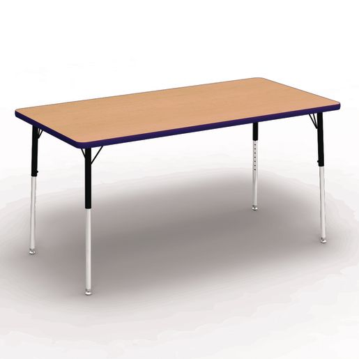 "30"" x 60"" Rectangle Banded Tables 22""-30""H - Maple / Purple"