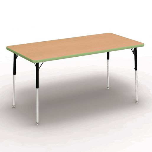 "30"" x 60"" Rectangle Banded Tables 22""-30""H - Maple / Apple"