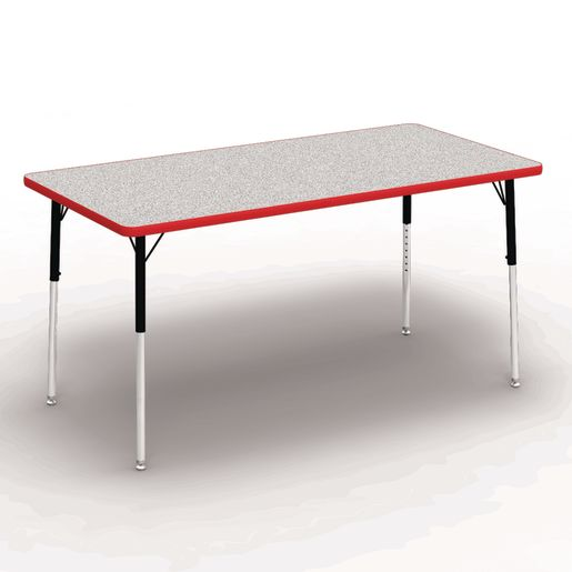 """30"""" x 60"""" Rectangle Banded Tables 22""""-30""""H - Gray / Red"""