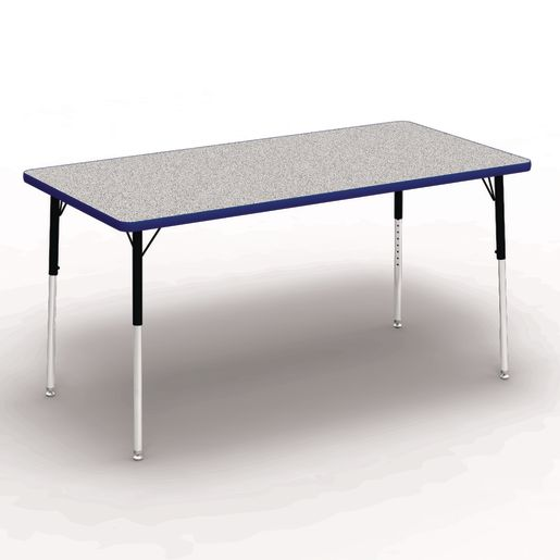 "30"" x 60"" Rectangle Banded Tables 22""-30""H - Gray / Cobalt"