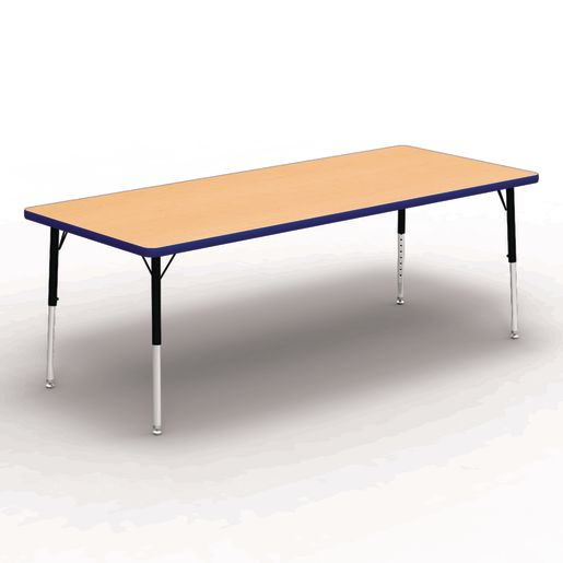 """30"""" x 72"""" Rectangle Banded Table 17""""-25""""H - Maple / Blue"""