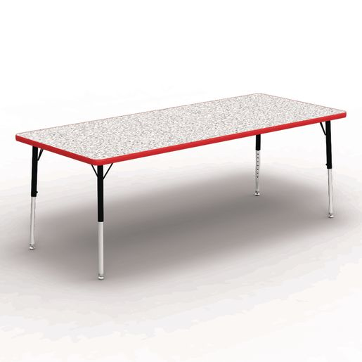 "30"" x 72"" Rectangle Banded Table 17""-25""H - Gray / Red"