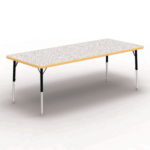 """30"""" x 72"""" Rectangle Banded Table 17""""-25""""H - Gray / Yellow"""