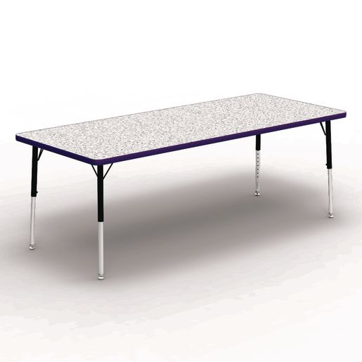 """30"""" x 72"""" Rectangle Banded Table 17""""-25""""H - Gray / Purple"""