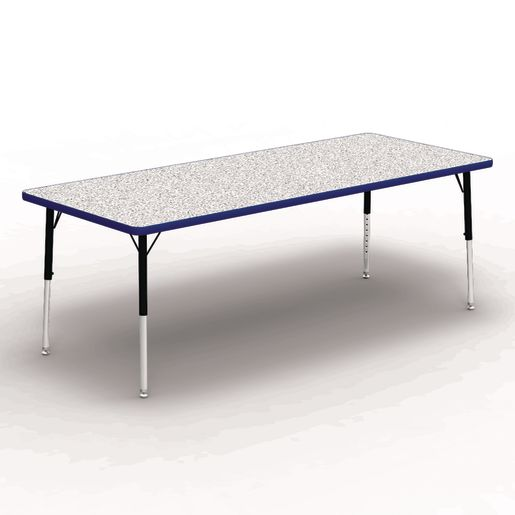 "30"" x 72"" Rectangle Banded Table 17""-25""H - Gray / Blue"