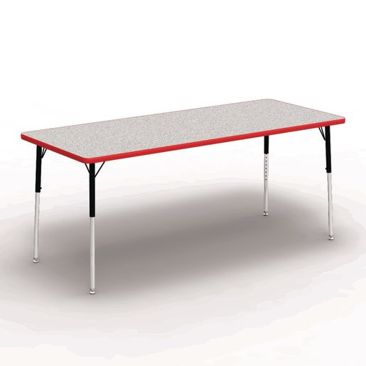"""30"""" x 72"""" Rectangle Banded Table 22""""-30""""H - Gray / Red"""