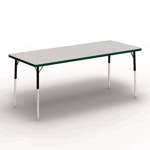 "30"" x 72"" Rectangle Banded Table 22""-30""H - Gray / Forest"