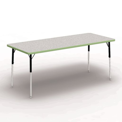 """30"""" x 72"""" Rectangle Banded Table 22""""-30""""H - Gray / Apple"""